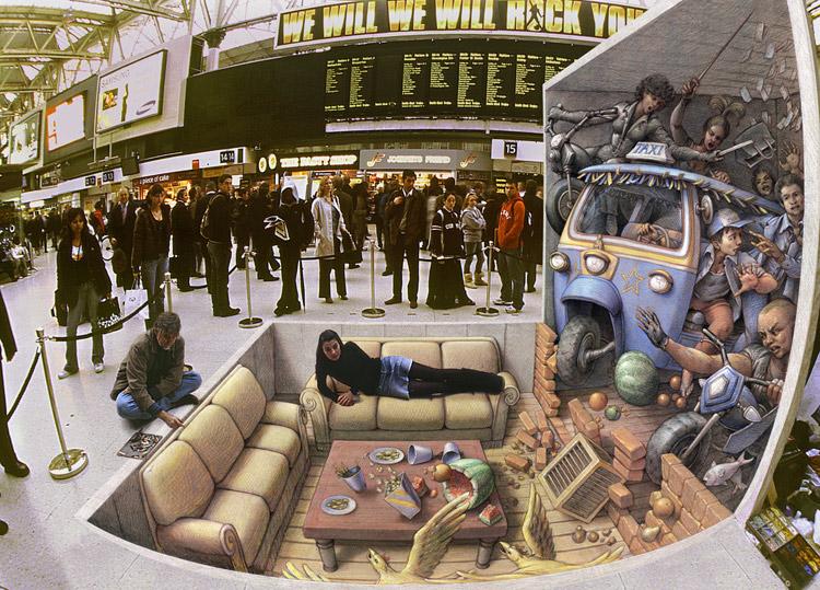 3d рисунки на асфальте: