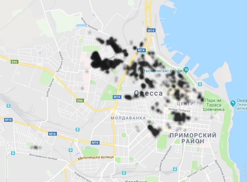 Большая часть центра Одессы сидит без света