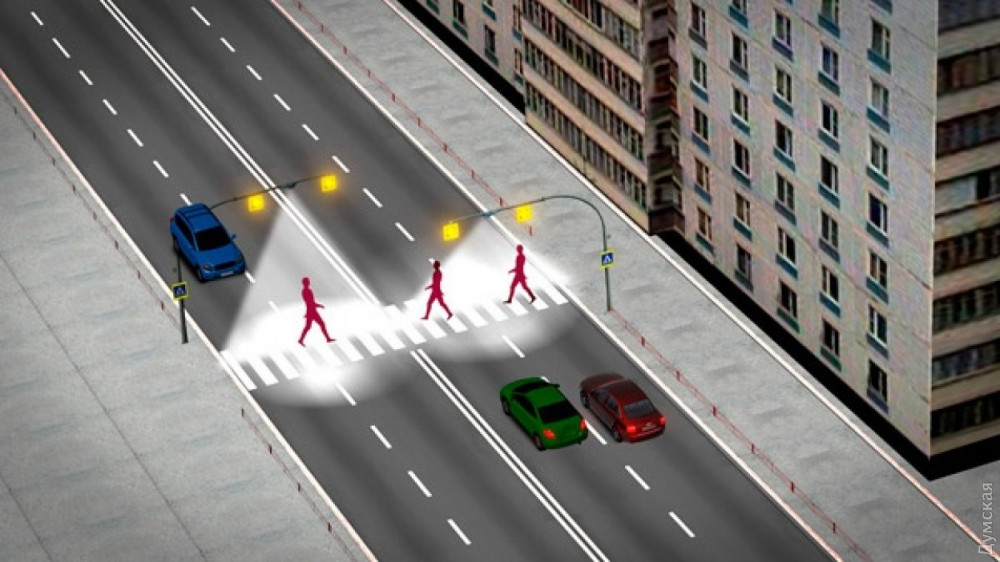 Освещение пешеходных переходов на Фонтане