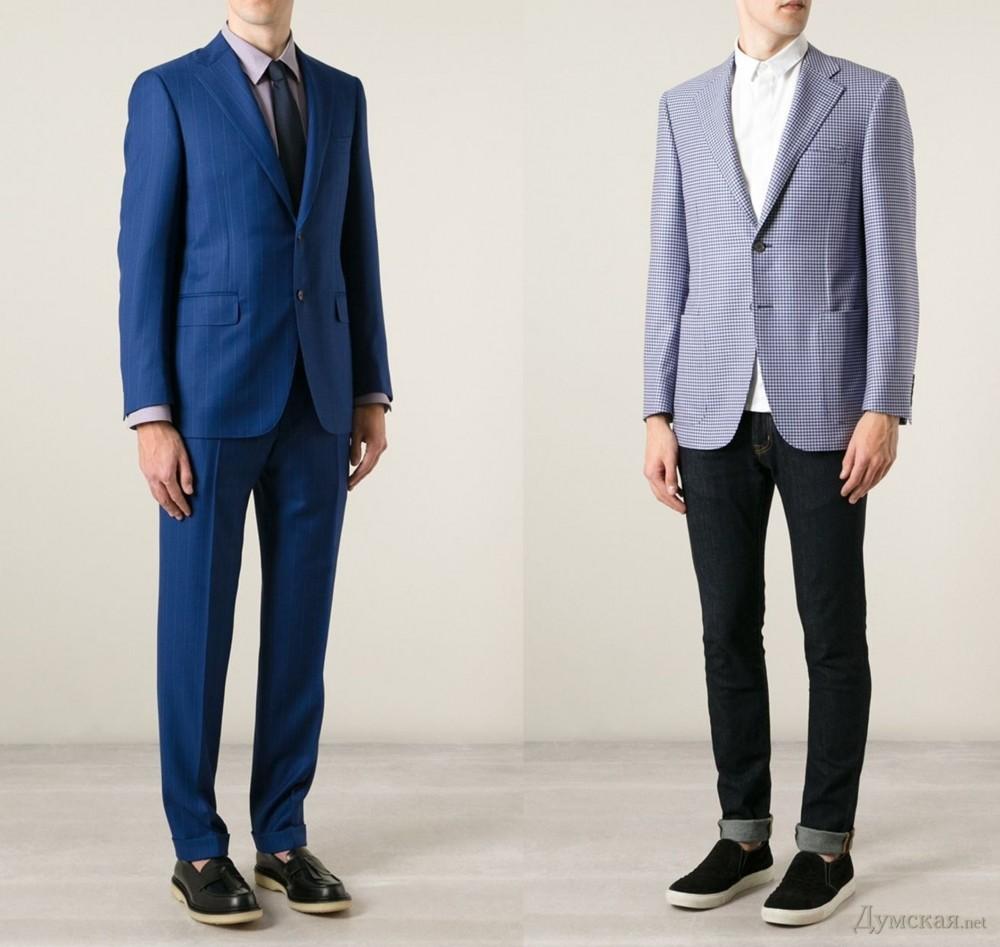 Они предложили разнообразить костюмы оригинальной тканью и шейным платком, а Tom Ford предлагает носить стильным мужчинам насыщенные пиджаки с ярким узором