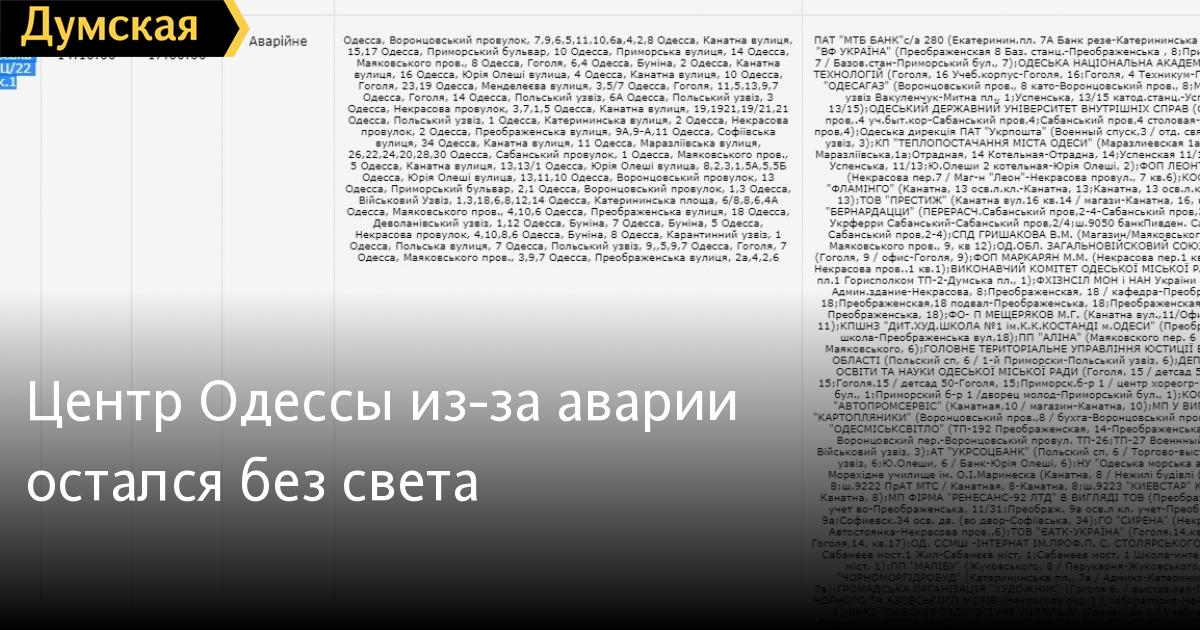 Центр Одессы из-за аварии остался без света