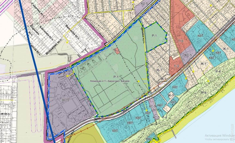 Проект зонинга. Парк обозначен как зона Р1, строить в которой нельзя