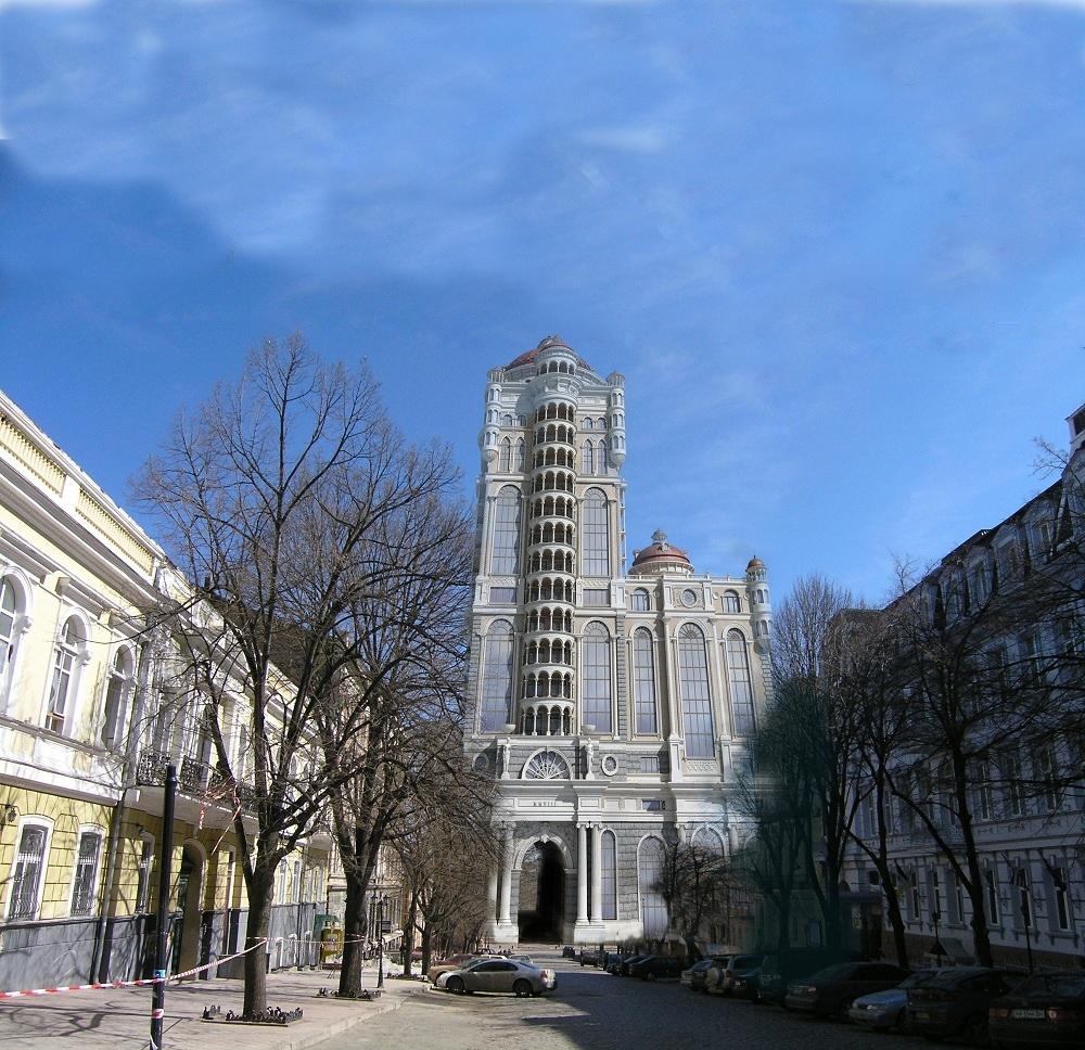 ... «Палладиум») разработала по заказу нынешнего зампреда облсовета Олега  Радковского дизайн 16-этажного дома на месте памятника Дерибасу и сквера  под ним. cde1c0b5bd442